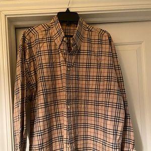 Men's Burberry Nova Plaid button down shirt